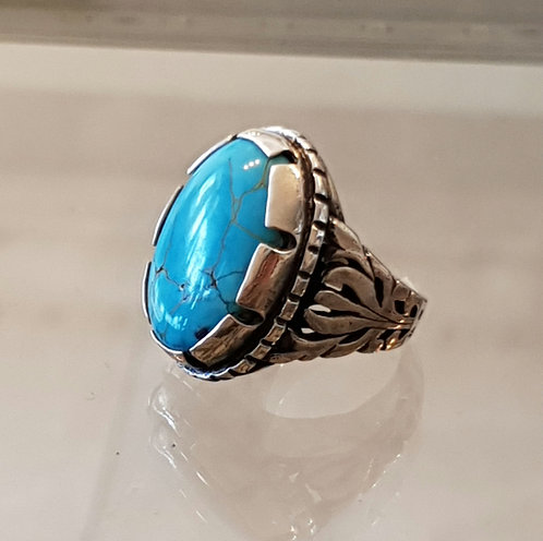 Oval Silver ring,  Turquoise ring, Turquoise gemstone ring