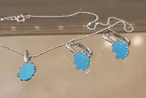 Aquamarine silver jewelry,Silver 925 set, Aquamarine  gemstone set