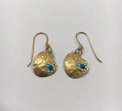 Goldfilled heart earrings , Dangle earrings , Blue light earrings