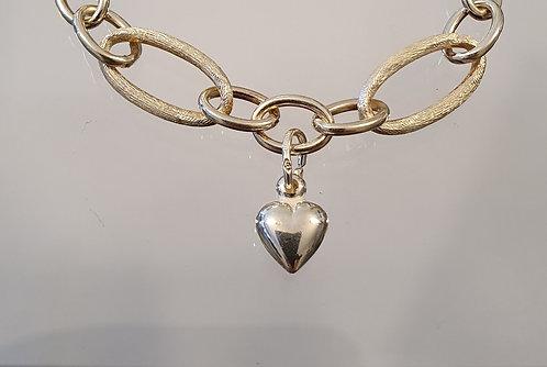 Silver bracelet , Silver heart jewelry ,  Bracelet Gourmet ,Wide loops b