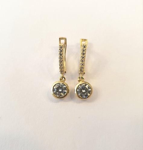 Gold 14k earrings ,Elegant earrings with Zircons , Round zircon