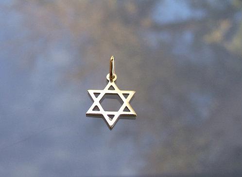 Star of David , 14K gold pendant , Star of David pendant , Italian gold