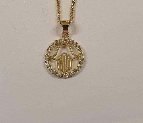 14K gold hamsa Pendant , Hamsa pendant, Gold hamsa necklace, Gold round pendant