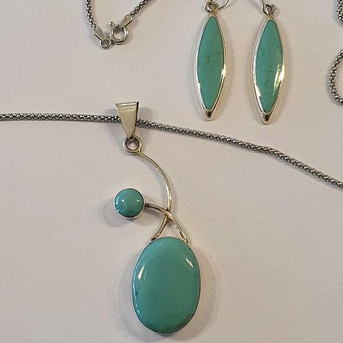 Turquoise jewelry set, Silver 925 turquoise set, Turquoise gemstone set