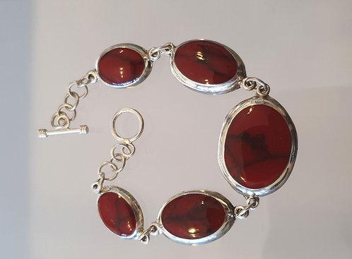 Coral bracelet, Red coral jewelry , Silver 925 gemstone bracelet
