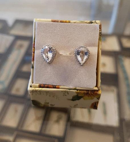 Tight drop silver earrings ,Zircon drop silver earrings ,Silver earrings