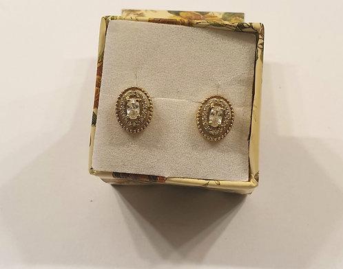 Gold 14k earrings , Oval zircon earrings
