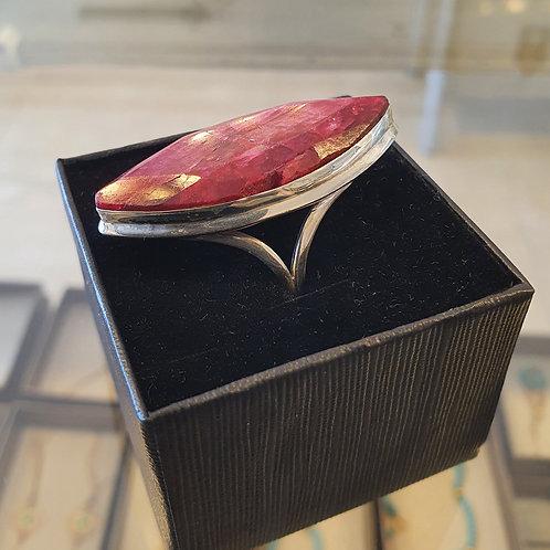 Marquise ruby ring, Ruby gemstone 925 silver ring,