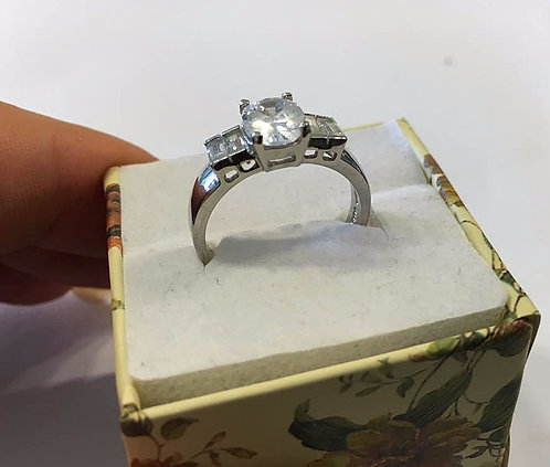 Silver ring, Oval crystal, Crystal ring, Silver 925 sterling