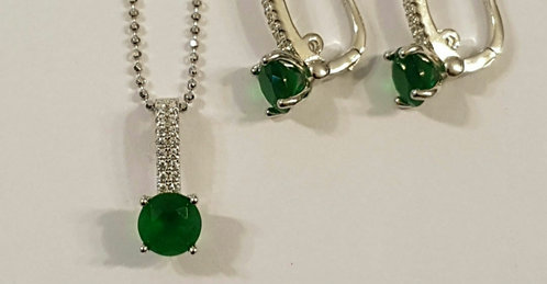 Emerald jewelry set, Silver 925 set, Green emerald gemstone set