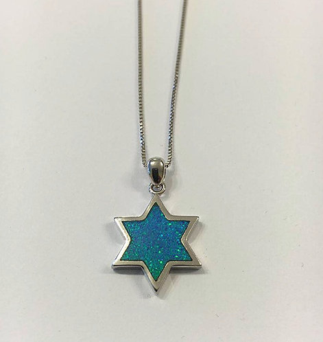 Star of David pendant , Silver 925 pendant,Opal jewelry