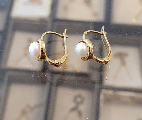 14K gold earrings , Fine pearl earrings, White pearl
