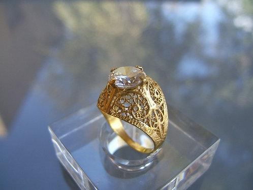 Vintage  wedding ring ,Elegant ring elevated gold plating,White Zircon ring