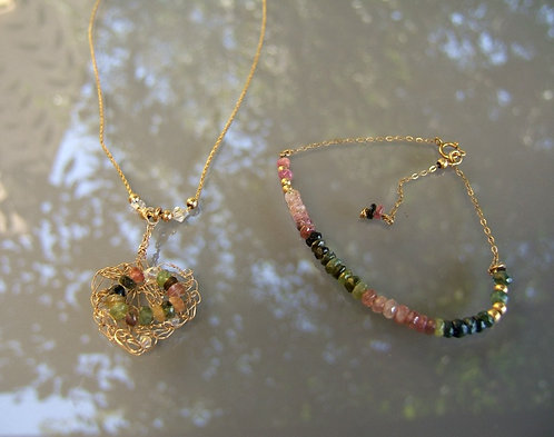 Goldfield with Tourmaline set, Goldfield gamstone set, Tourmaline jewelry, Octob
