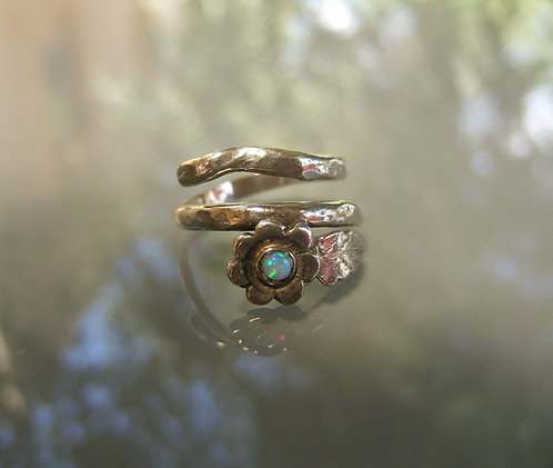 Delicate adjustable silver ring with tiny Opal