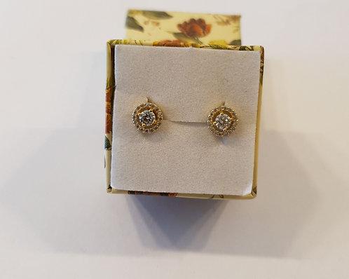 Gold 14k earrings ,Elegant zircon earrings , Round zircon