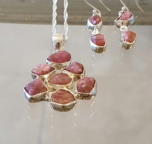 Ruby jewelry set, Ruby gemstone, Natural ruby stone set