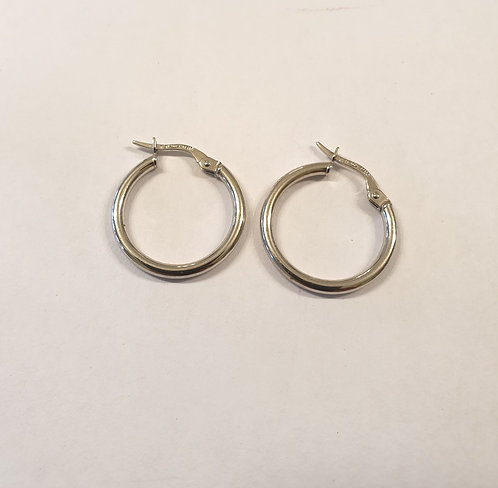Gold white hoop earrings , Gold 14k ,Hoop earrings