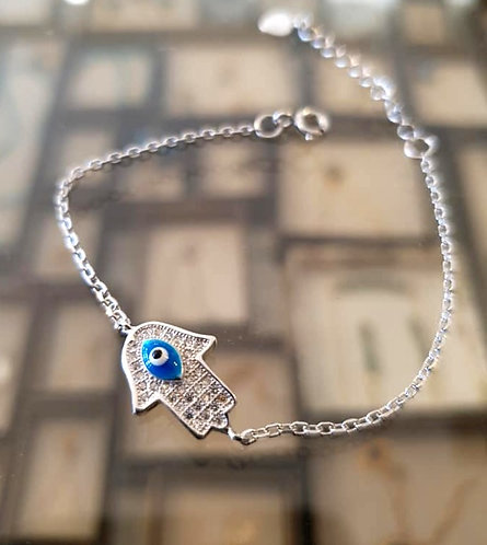 Hamsa 925 Silver Bracelet ,A delicate silver bracelet ,Silver jewelry