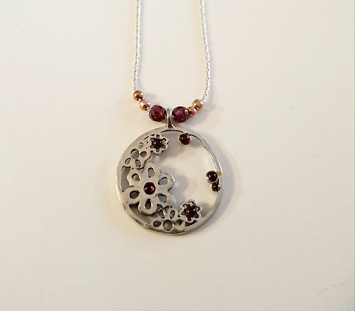 Granet flowers pendant,Flower necklace, 925 silver round pendant