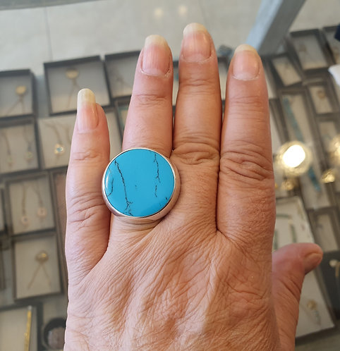 Silver ring,  Mexican turquoise ring, Turquoise gemstone ring