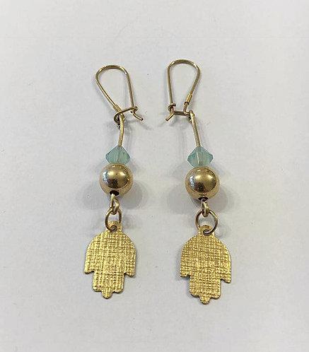 Goldfilled earrings , Dangle earrings , Blue light earrings , Hamsa earrings