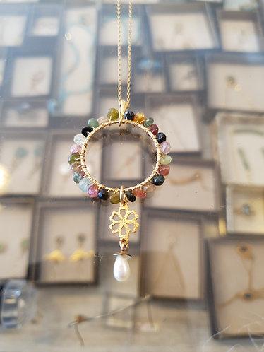 Watermelon necklace, Tourmaline gemstone pendant, Multi colored Tourmaline