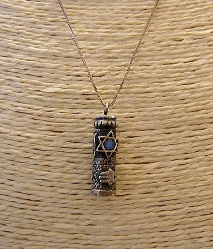 Mezuzah pendant,Jewish jewelry ,Silver pendan,Bar mitzvah gift,Star of David pen