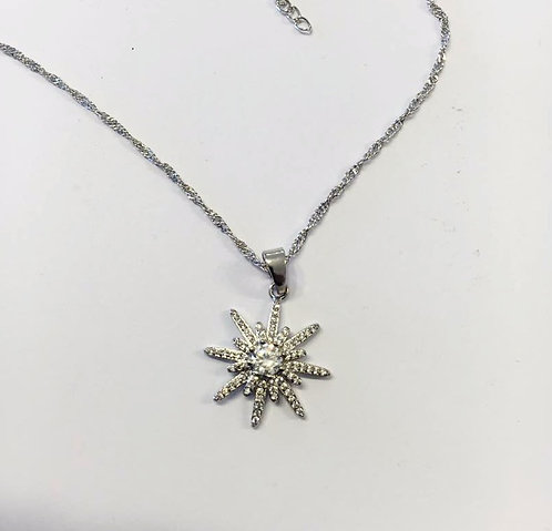 North star necklace , silver pendant , silver jewelry