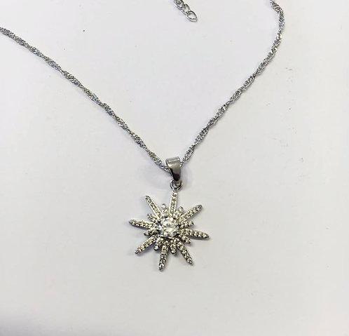 North star necklace ,silver pendant , silverjewelry