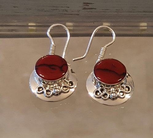 Red coral earrings , Silver 925 earrings ,Natural coral stone