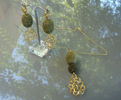 Beads Crocheted set, Green jewlery set, Gold Plating set,Beads Crochted jewelry,