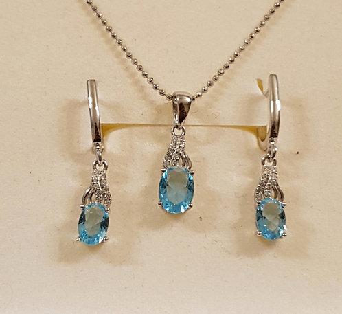 Blue Topaz jewelry,Silver 925 set, Blue Topaz jewelry set