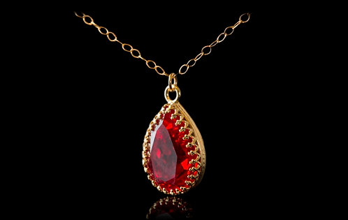 Red Crystal,Swarovski crystal, Red pendant, Pear shaped necklace