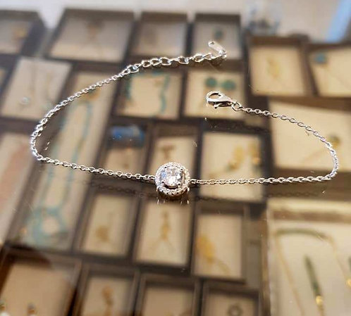 Round 925 Silver Bracelet ,Round zircon silver bracelet ,Silver jewelry