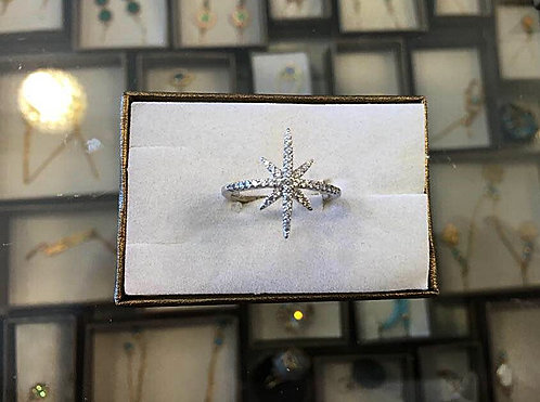 Silver ring, The North Star Ring, Silver 925 sterling,crystals ring