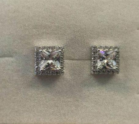 silver earrings , Zircons  earrings , Square earrings , Silver jewelry