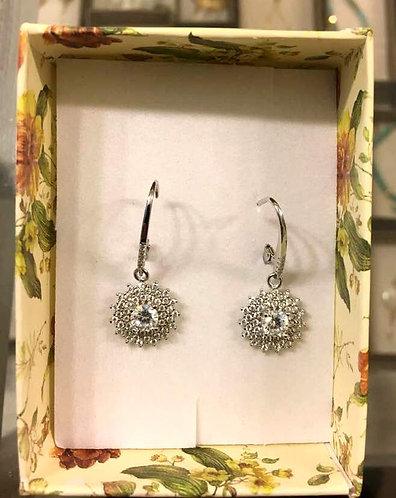 Silver flower earrings , Zircons  earrings , Round crystal , Silver j