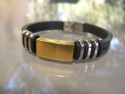 Stainless Steel Smooth  plate men's bracelet