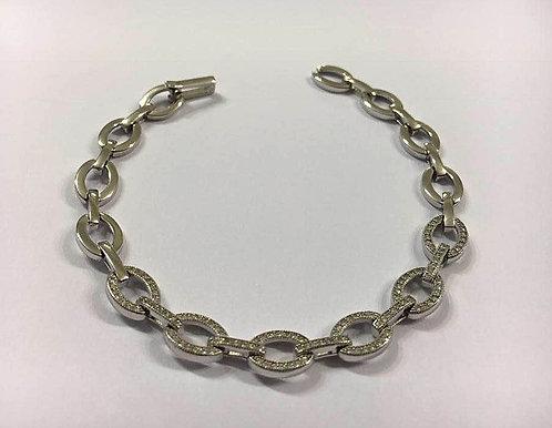 Loops Oval Bracelet , Bracelet Zircons, Silver bracelet , Silver jewelry