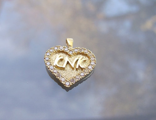 Mother  pendant ,Heart pendant with zircons, Mom's gift
