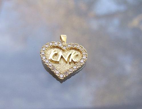 Mother  pendant ,Heart pendant with zircons, Mom's gift