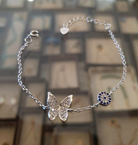 Butterfly 925 Silver Bracelet ,A delicate silver  bracelet ,Silver  jewelry