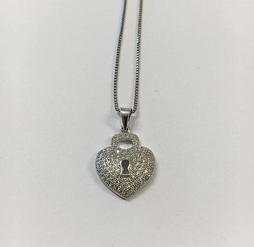 Heart Lock pendant, Silver necklace, Heart jewelry,Valentine's day gift