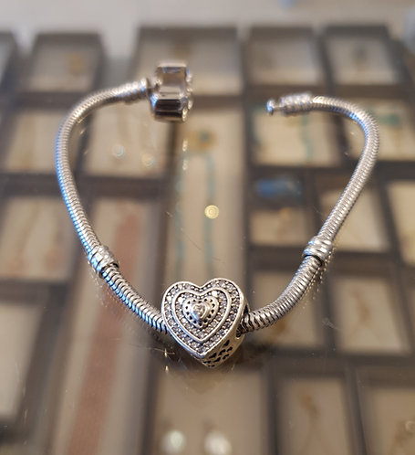 Sterling silver bracelet ,Heart bracelet ,Elegant charm bracelet