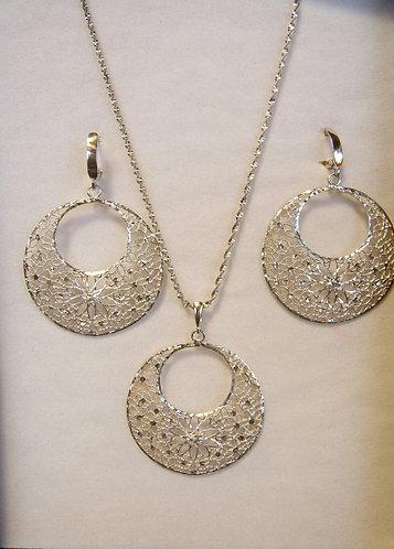 network silver earrings and necklace,Danglings earrings,Silver 925 Set