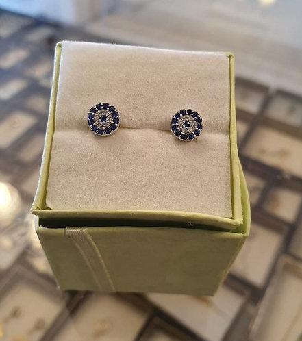 Elegant silver evil eye earrings, silver earrings