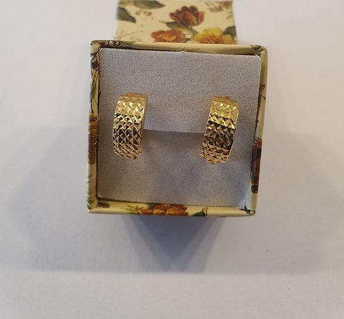 Italian Gold Earrings K14 Rectangular , Gold 14k earrings