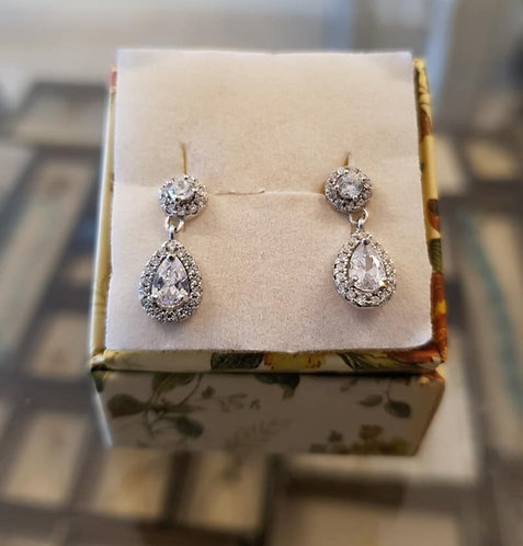 Drop hanging silver earrings ,Zircon drop silver earrings ,Silver earrings