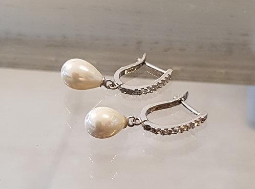 Pearl Drop hanging silver earrings ,Zircon drop silver earrings ,Silver earrin